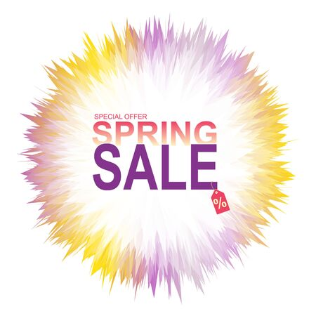 Spring sale banner with abstract geometric colorful splashes on white background. Ilustração