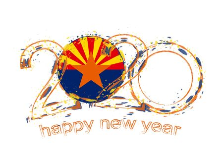 Happy New 2020 Year with flag of Arizona. Holiday grunge vector illustration.