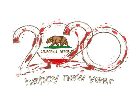 Happy New 2020 Year with flag of California. Holiday grunge vector illustration.