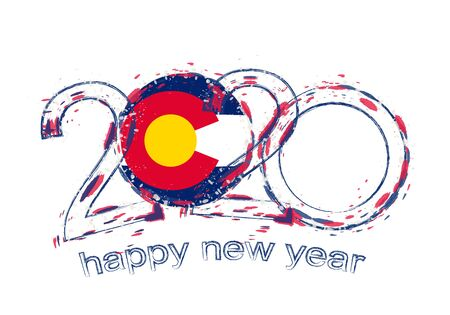 Happy New 2020 Year with flag of Colorado. Holiday grunge vector illustration.
