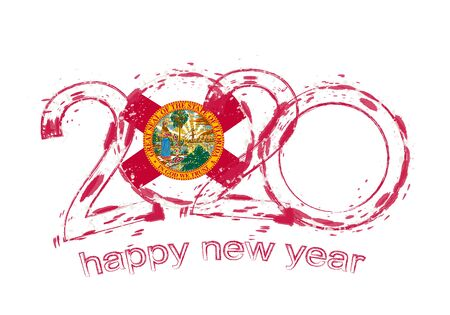 Happy New 2020 Year with flag of Florida. Holiday grunge vector illustration.