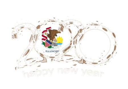 Happy New 2020 Year with flag of Illinois. Holiday grunge vector illustration.  イラスト・ベクター素材