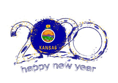Happy New 2020 Year with flag of Kansas. Holiday grunge vector illustration.