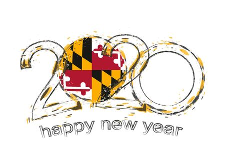 Happy New 2020 Year with flag of Maryland. Holiday grunge vector illustration.