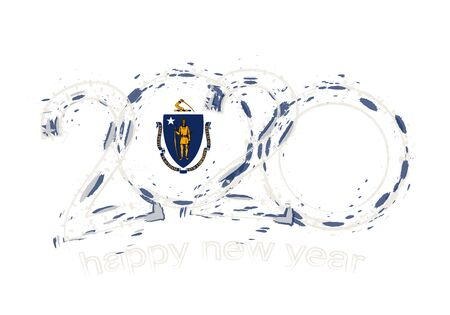 Happy New 2020 Year with flag of Massachusetts. Holiday grunge vector illustration.  イラスト・ベクター素材