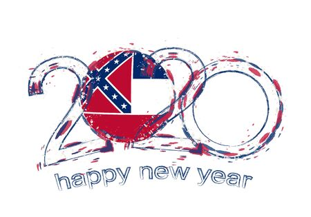 Happy New 2020 Year with flag of Mississippi. Holiday grunge vector illustration. Ilustração
