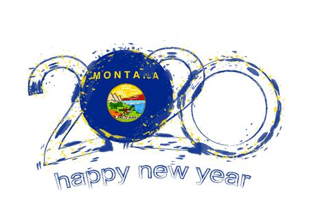 Happy New 2020 Year with flag of Montana. Holiday grunge vector illustration. Ilustração