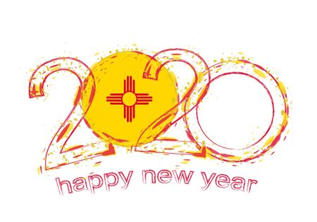 Happy New 2020 Year with flag of New Mexico. Holiday grunge vector illustration.