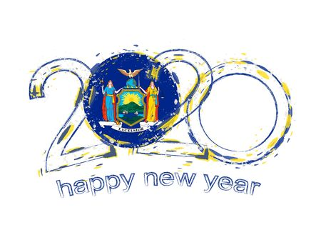 Happy New 2020 Year with flag of New York. Holiday grunge vector illustration.