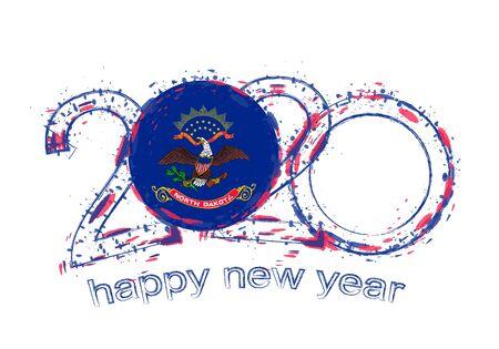 Happy New 2020 Year with flag of North Dakota. Holiday grunge vector illustration.  イラスト・ベクター素材