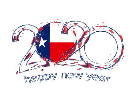 Happy New 2020 Year with flag of Texas. Holiday grunge vector illustration.