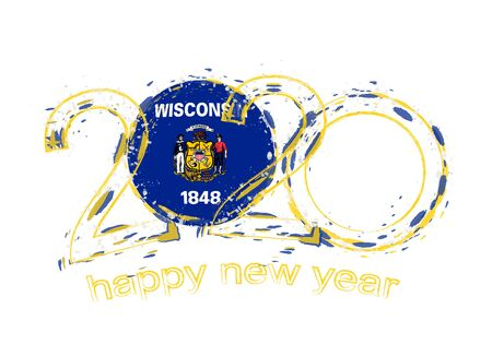 Happy New 2020 Year with flag of Wisconsin. Holiday grunge vector illustration.