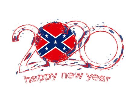 Happy New 2020 Year with flag of Confederate. Holiday grunge vector illustration.