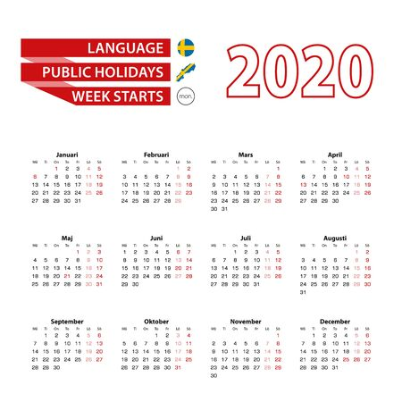 Calendar 2020 in Swedish  language with public holidays the country of Sweden in year 2020. Week starts from Monday. Vector Illustration.