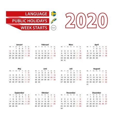Kalender 2020 in schwedischer Sprache mit Feiertagen das Land Schweden im Jahr 2020. Woche beginnt am Montag. Vektor-Illustration.