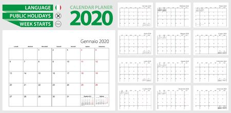 Italian calendar planner for 2020. Italian language, week starts from Monday. Vector calendar template for Italy, Switzerland, San Marino and other. Ilustração