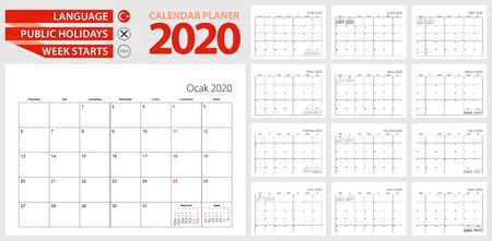 Turkish calendar planner for 2020. Turkish language, week starts from Monday. Vector calendar template for Turkey and other.