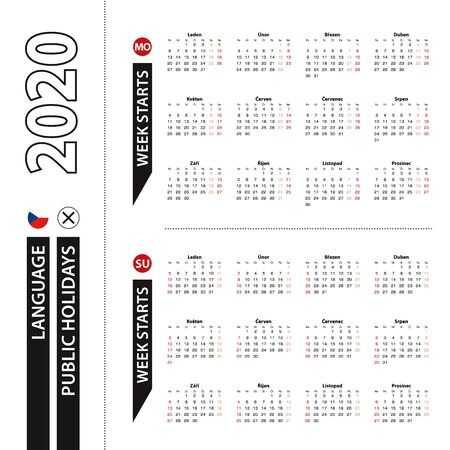 Two versions of 2020 calendar in Czech, week starts from Monday and week starts from Sunday. Vector template. Ilustração