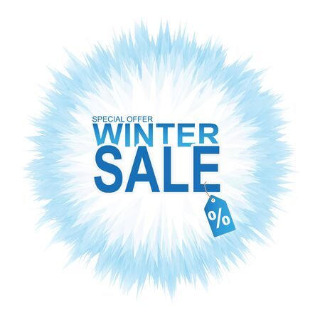 Winter sale banner with abstract colorful splashes on white background. Ilustração