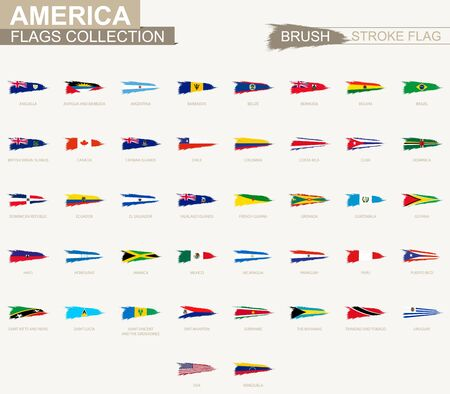 Vector grunge brush stroke flag collection of America. Big set of flag.