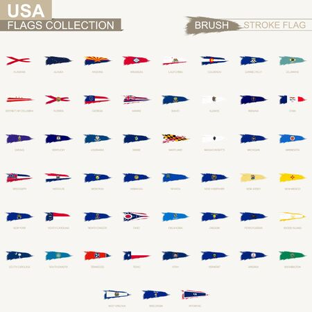 Vector grunge brush stroke flag collection of US state. Big set of flag 版權商用圖片 - 130841894