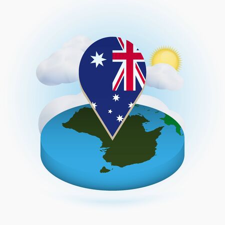 Isometric round map of Australia and point marker with flag of Australia. Cloud and sun on background. Isometric vector illustration.
