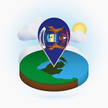 Isometric round map of US state Michigan and point marker with flag of Michigan. Cloud and sun on background. Isometric vector illustration.