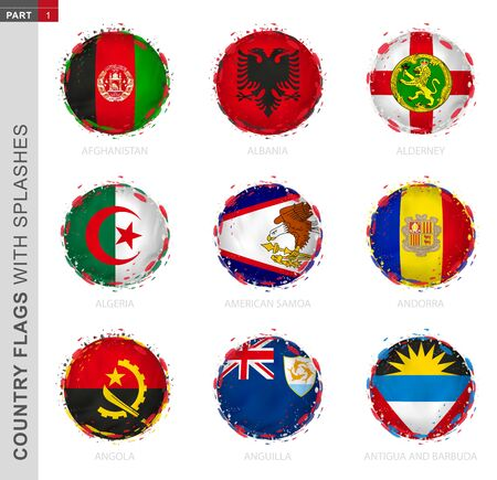 Flag collection, round grunge flag with splashes. 9 vector flags: Afghanistan, Albania, Alderney, Algeria, American Samoa, Andorra, Angola, Anguilla, Antigua and Barbuda.