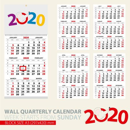 Print template of wall quarterly calendar for 2020 year. Year of the Rat. Week starts from Sunday.  イラスト・ベクター素材