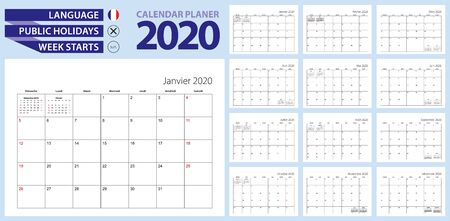 French calendar planner for 2020. French language, week starts from Sunday. Vector template. Çizim