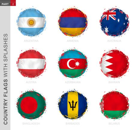 Flag collection, round grunge flag with splashes. 9 vector flags: Argentina, Armenia, Australia, Austria, Azerbaijan, Bahrain, Bangladesh, Barbados, Belarus