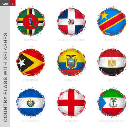 Flag collection, round grunge flag with splashes. 9 vector flags: Dominica, Dominican Republic, DR Congo, East Timor, Ecuador, Egypt, El Salvador, England, Equatorial Guinea