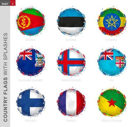 Flag collection, round grunge flag with splashes. 9 vector flags: Eritrea, Estonia, Ethiopia, Falkland Islands, Faroe Islands, Fiji, Finland, France, French Guiana Çizim