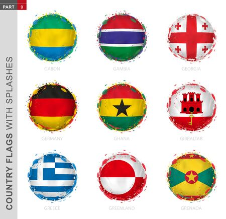 Flag collection, round grunge flag with splashes. 9 vector flags: Gabon, Gambia, Georgia, Germany, Ghana, Gibraltar, Greece, Greenland, Grenada Illustration