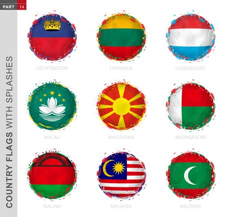 Flag collection, round grunge flag with splashes. 9 vector flags: Liechtenstein, Lithuania, Luxembourg, Macau, Macedonia, Madagascar, Malawi, Malaysia, Maldives