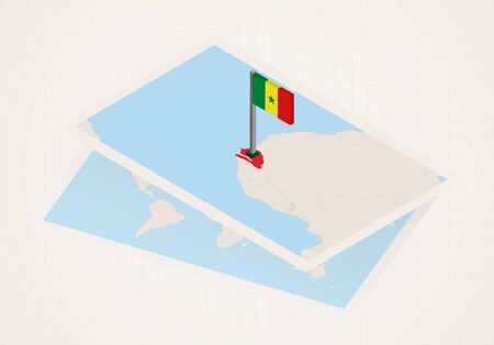 Senegal selected on map with 3D flag of Senegal. Vector paper map.