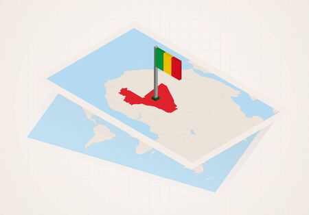 Mali selected on map with 3D flag of Mali. Vector paper map.