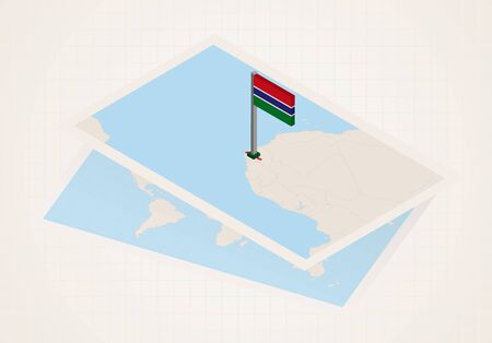 Gambia selected on map with 3D flag of Gambia. Vector paper map.