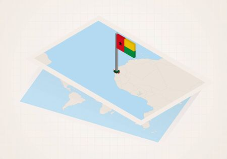 Guinea-Bissau selected on map with 3D flag of Guinea-Bissau. Vector paper map.