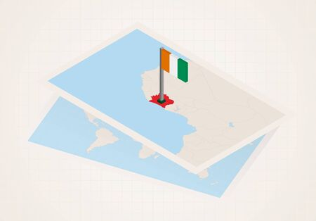 Ivory Coast selected on map with 3D flag of Ivory Coast. Vector paper map. Çizim