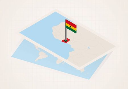 Ghana selected on map with 3D flag of Ghana. Vector paper map.