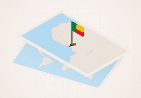 Benin selected on map with 3D flag of Benin. Vector paper map.
