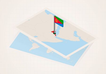 Eritrea selected on map with 3D flag of Eritrea. Vector paper map.