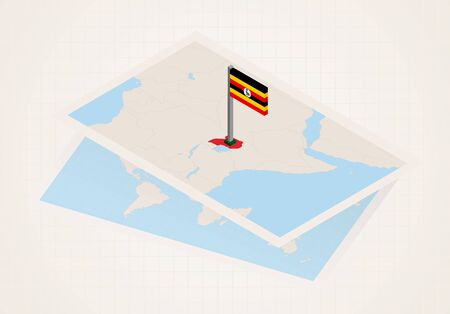 Uganda selected on map with 3D flag of Uganda. Vector paper map.