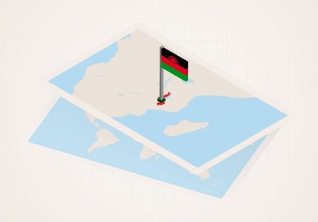 Malawi selected on map with 3D flag of Malawi. Vector paper map.