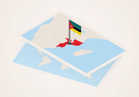 Mozambique selected on map with 3D flag of Mozambique. Vector paper map.