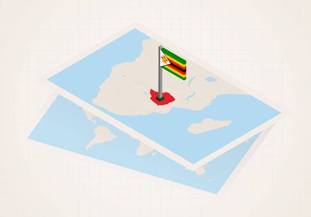Zimbabwe selected on map with 3D flag of Zimbabwe. Vector paper map. Çizim