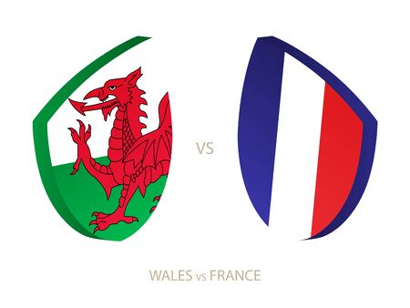Wales v France, icon for rugby tournament. Rugby vector icon.