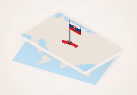 Slovakia selected on map with isometric flag of Slovakia. Vector paper map. Illusztráció