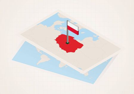 Poland selected on map with isometric flag of Poland. Vector paper map. Illustration